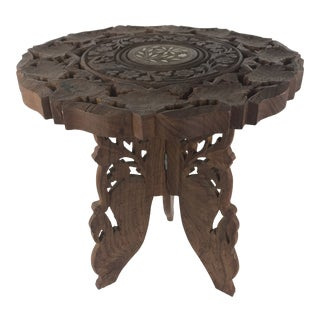 1980s Anglo-Indian Hand Carved Wood Plant Stand Table For Sale