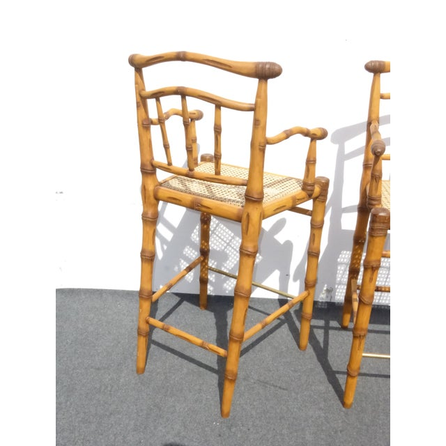 Faux Bamboo Bahama Style Bar Stools - A Pair For Sale - Image 11 of 11