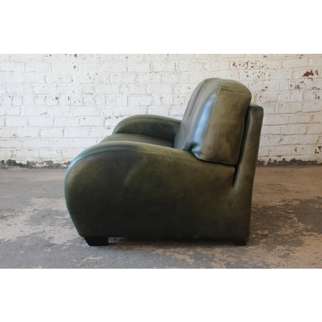 Roche Bobois Art Deco Green Leather Sofa For Sale In South Bend - Image 6 of 8
