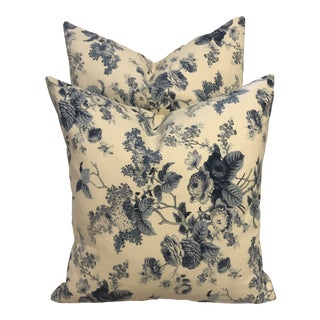 Custom Blue and White Floral Print Pillows - a Pair For Sale