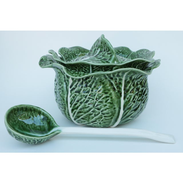 Mediterranean Majolica Cabbage Covered Soup Tureen & Cabbage Ladle For Sale - Image 3 of 7