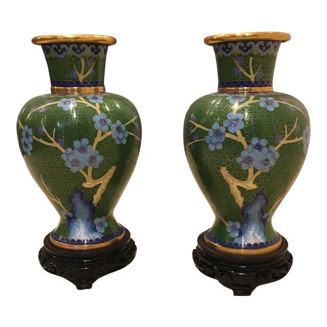 Green & Blue Floral Cloisonne Vases - A Pair - Image 1 of 8