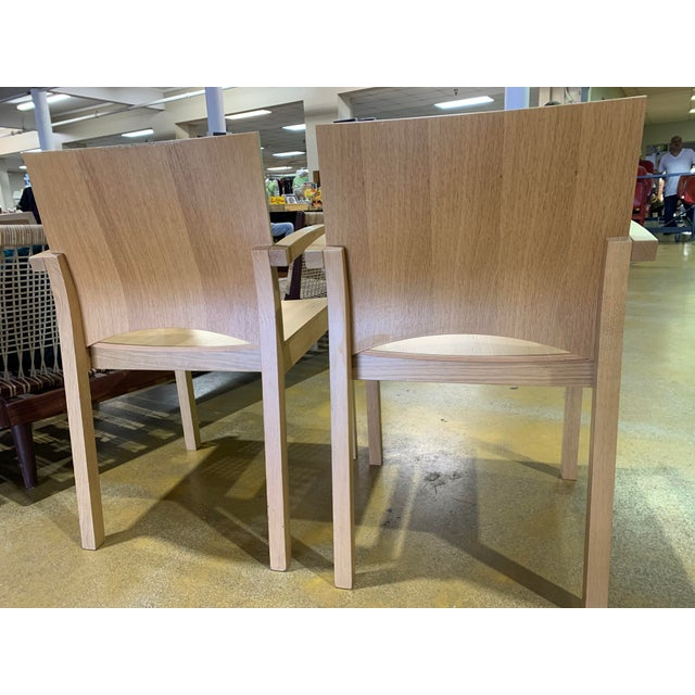 1980s Italian Cerused, Rift-Sawn White Oak Accent / Dining Arm Chairs, a Pair For Sale In West Palm - Image 6 of 13