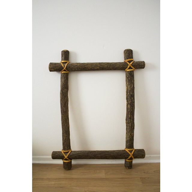 A large, vintage frame made of beautiful ash branches, preserved in their natural color. Sinew accents on joins. Frame...
