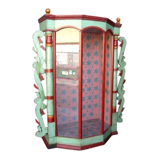 Very Large 19th Antique Painted Saint Display Case For Sale
