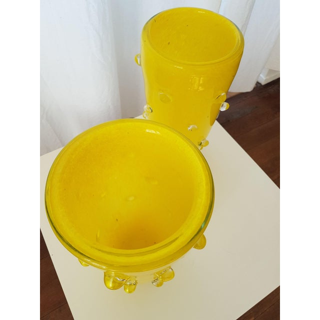 Cenedese Yellow Murano Glass Vases, 1980s, Attributed to Cenedese - a pair For Sale - Image 4 of 7
