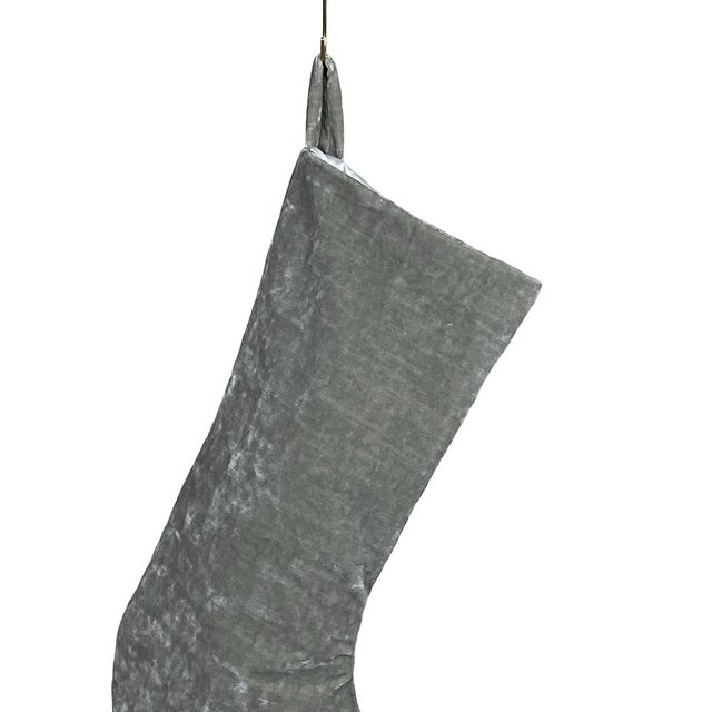 Custom French velvet stocking lined with ivory satin fabric. This is an heirloom quality stocking made with the finest...