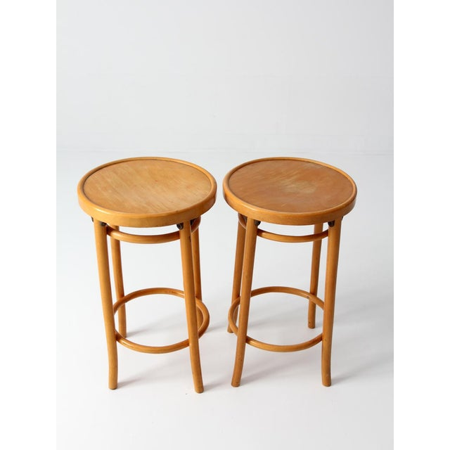 Mid-Century Modern Mid-Century Bentwood Stools - A Pair For Sale - Image 3 of 8
