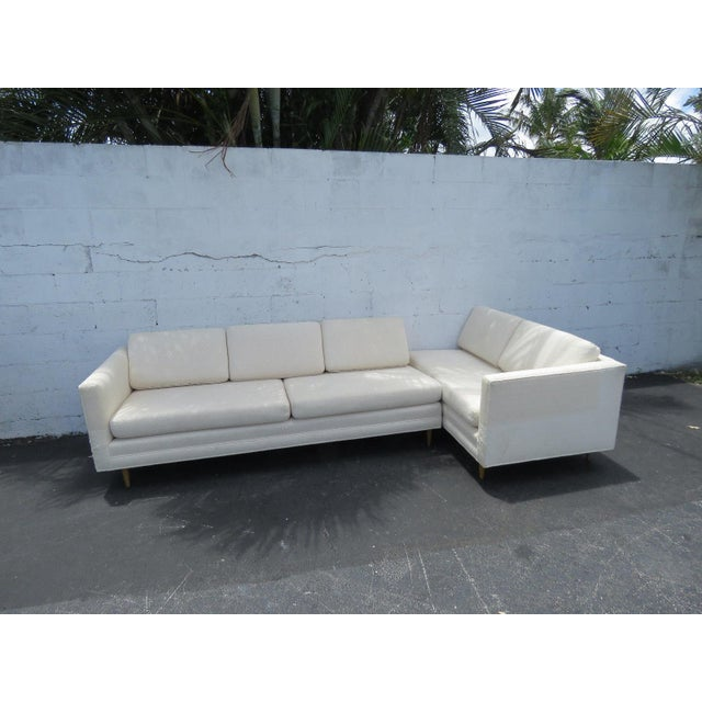 Mid Century Modern Long Two Part Sectional Low Sofa Couch