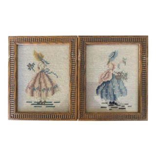 1940s Vintage Knitted Textile Art Pictures - a Pair For Sale