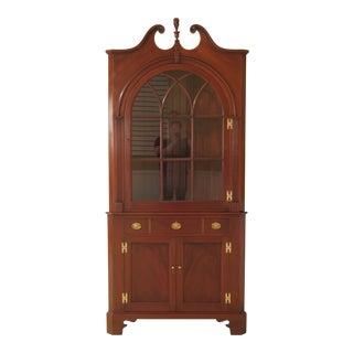 1950s Chippendale John Bair Mahogany Corner China Cabinet For Sale