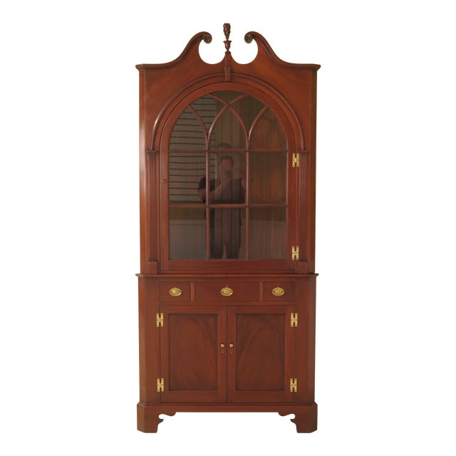 1950s Chippendale John Bair Mahogany Corner China Cabinet For Sale