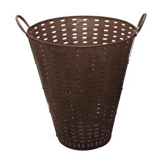 Oversized Iron Olive Basket For Sale
