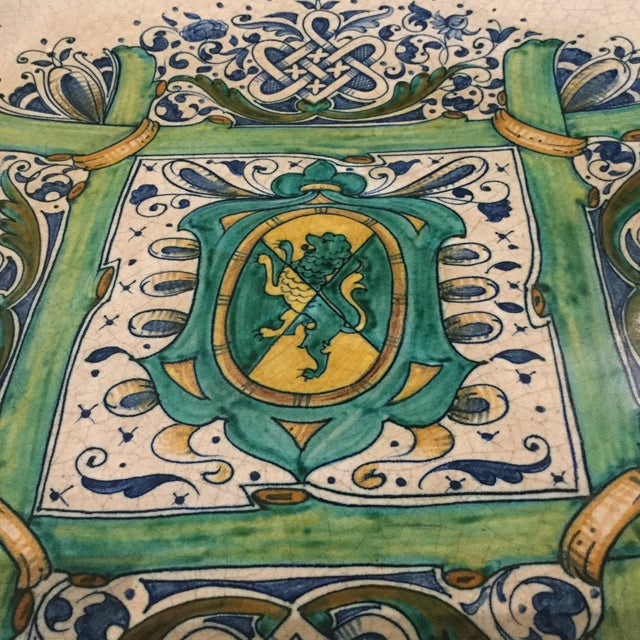 Green 1990s Italian Faience Ceramic Charger/Platter For Sale - Image 8 of 13