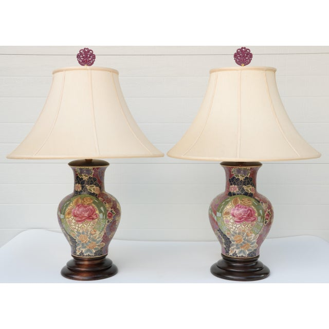 Blue Frederick Cooper Mosaic Chinoiserie Table Lamps - a Pair For Sale - Image 8 of 8