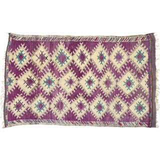 Vintage Berber Purple Moroccan Boujad Beni Mrirt Rug - 6'2 X 10'2 For Sale