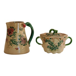 Antique Hand-Painted Japanese Creamer and Sugar Bowl For Sale