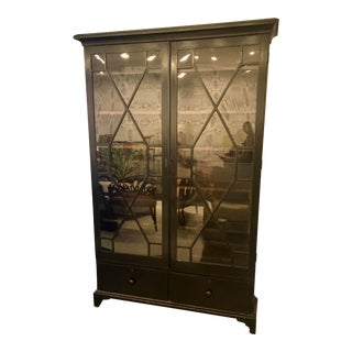 Antique Tall Black Curio Cabinet For Sale