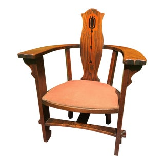 1890 Arts and Crafts Turtle Neck Barrel Chair For Sale
