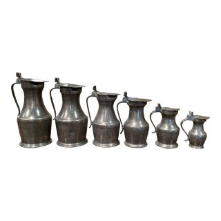 19th Century French Louis XIII Pewter Pitchers in Graduated Sizes - Set of 6 For Sale