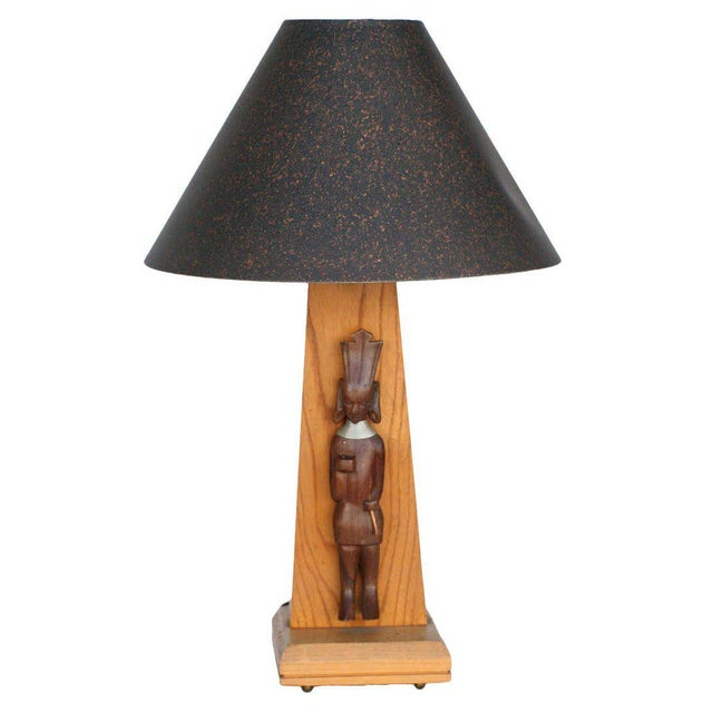 Brown Mid-Century Table Lamp With African Carving Pair For Sale - Image 8 of 8