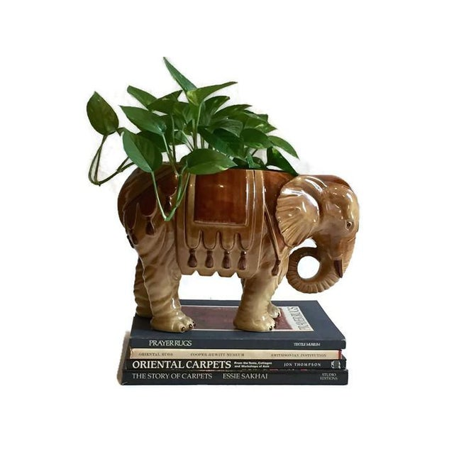 Fitz & Floyd Mid-Century Modern India Elephant Ceramic Planter - Image 5 of 8