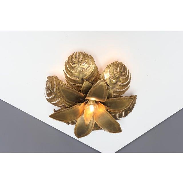 Maison Jansen Regency Brass Palm Chandelier For Sale - Image 4 of 9