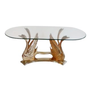 Solid Brass Swan French Coffee Table