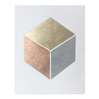 Modern Gilded Cube Textural Painting - 30 40