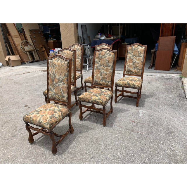 1900s French Country Louis XIII Style Os De Mouton Dining Chairs - Set of 6 For Sale In Miami - Image 6 of 10