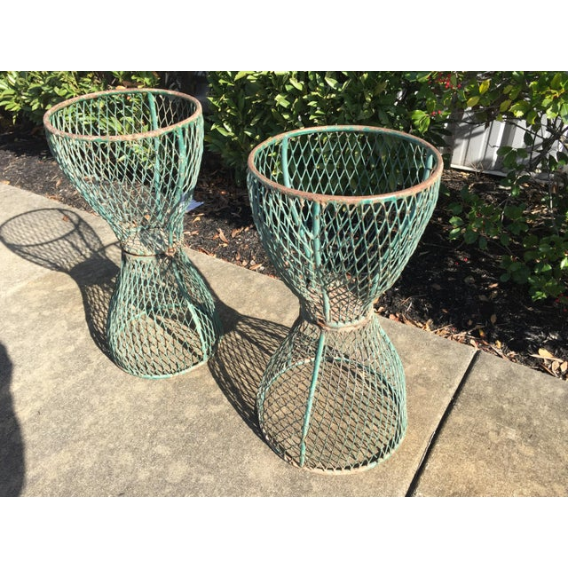 French 1960s Vintage French Hourglass Wire Planters- A Pair For Sale - Image 3 of 7