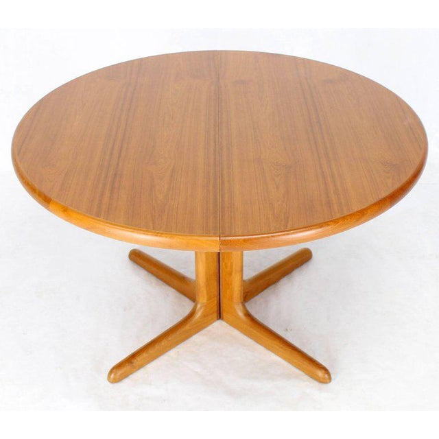 60944441d8fb Mid-Century Modern Danish Round Mid-Century Modern Teak Dining Table with Two  Leaves
