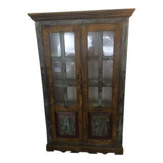 Antique Painted Cabinet with Glass Doors For Sale