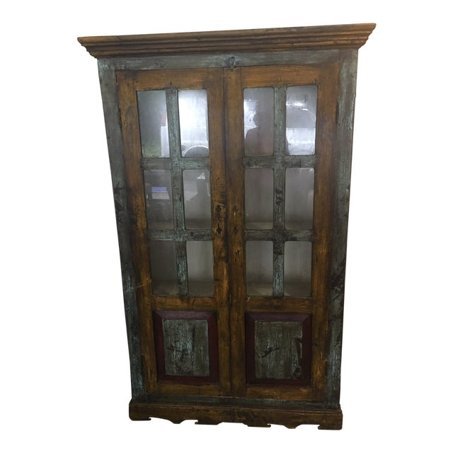 Antique Painted Cabinet With Glass Doors Chairish