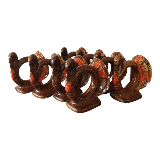 Handmade Thanksgiving Turkey Napkin Rings - S/8 - Image 1 of 10