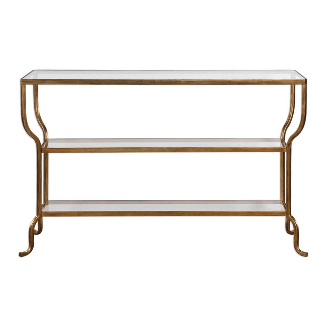 Antiqued Gold Finish Console Table For Sale - Image 4 of 4