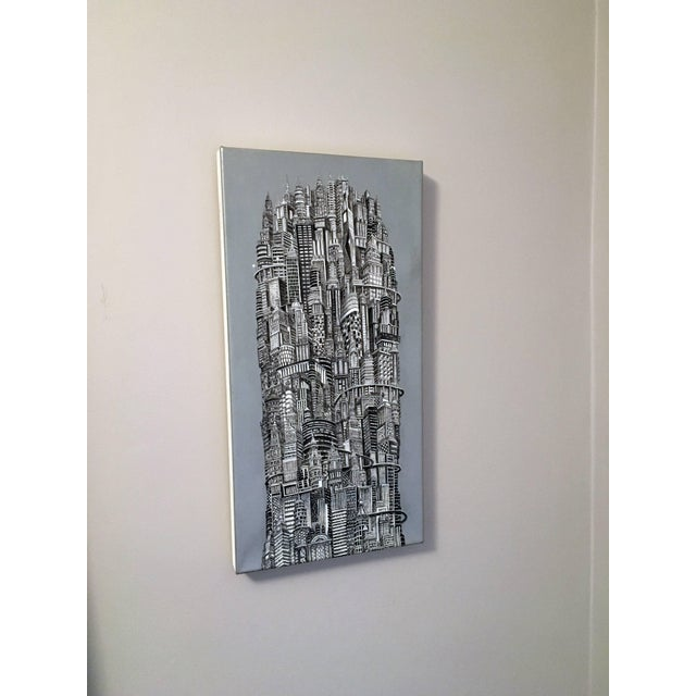 """2010s Alexis Duque """"Red Tower"""" NYC Buildings Reimagined Metropolis Acrylic Painting For Sale - Image 5 of 6"""