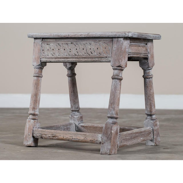 Antique English Limed Oak Joint Stool circa 1890 For Sale - Image 11 of 11