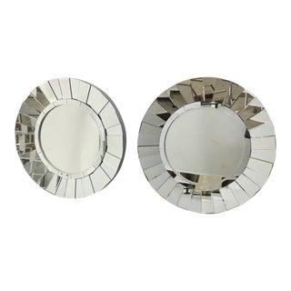 1980s Vintage Round Sunburst Shape Mirrors - a Pair For Sale