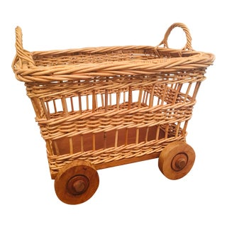 20th Century Country Wicker Wheeled Basket For Sale
