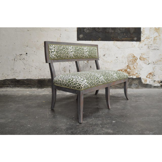 Traditional Gray Dining Banquette in Green Leopard For Sale - Image 3 of 8