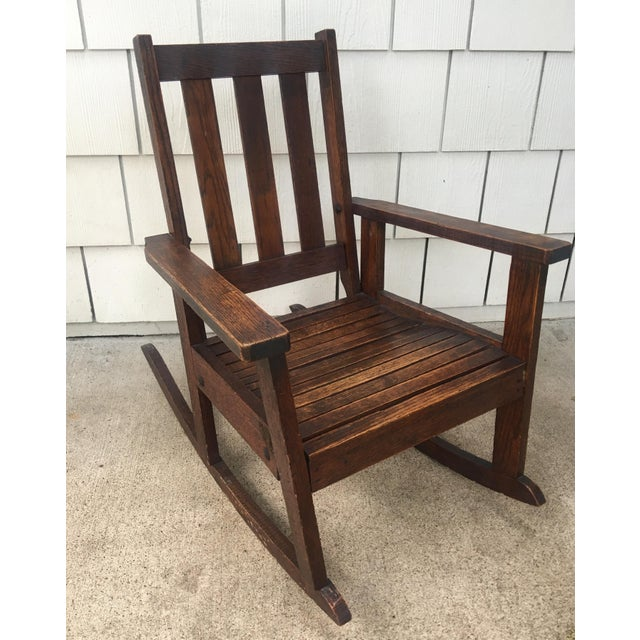 Antique Stickley Style Mission Oak Child's Rocking Chair For Sale - Image 13 of 13