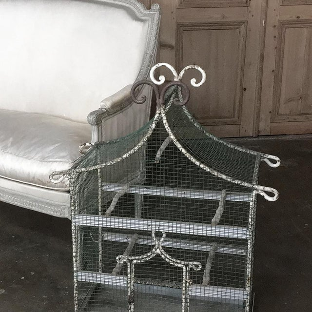 White 19th Century French Painted Wire Pagoda Birdcage For Sale - Image 8 of 13