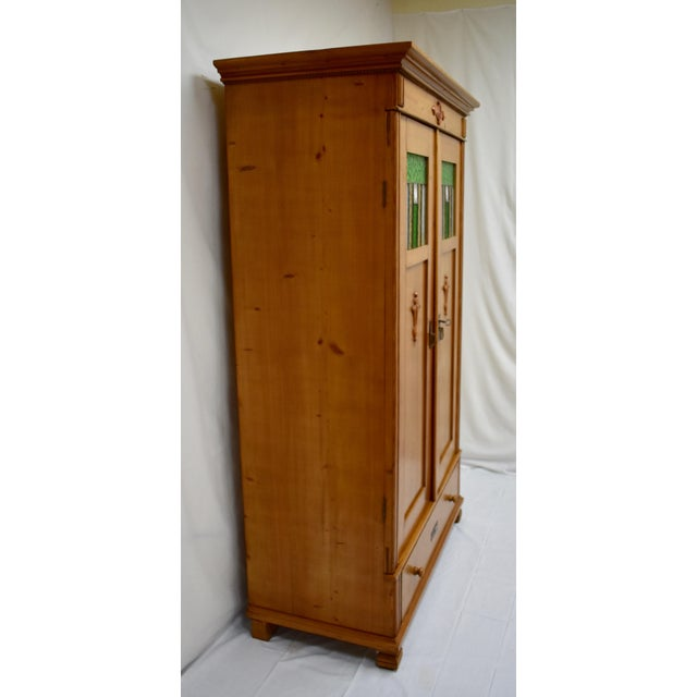 Country Pine Two Door Armoire With Art Glass Panels For Sale - Image 3 of 13