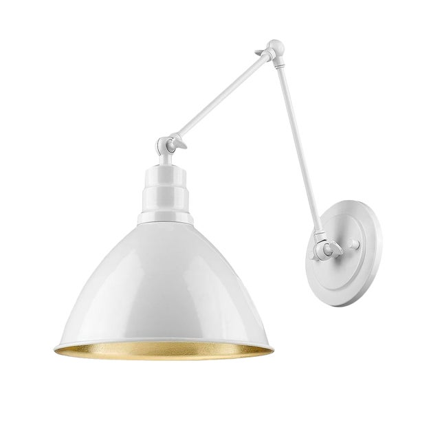 Lenox 1 Light Sconce, Ceramic White and Gold Leaf For Sale