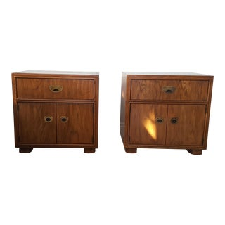Vintage Drexel Furniture Company Campaign Passage Nightstands - a Pair For Sale