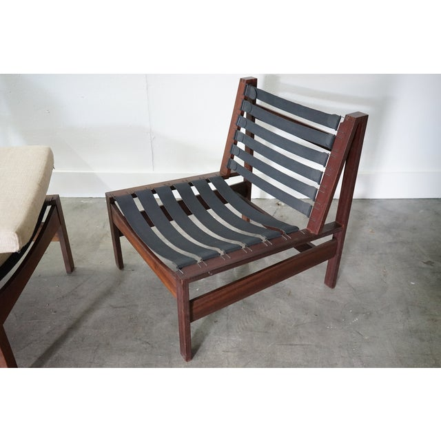 Wood Mid-Century Armless Lounge Chair, Sold as a Pair For Sale - Image 7 of 8