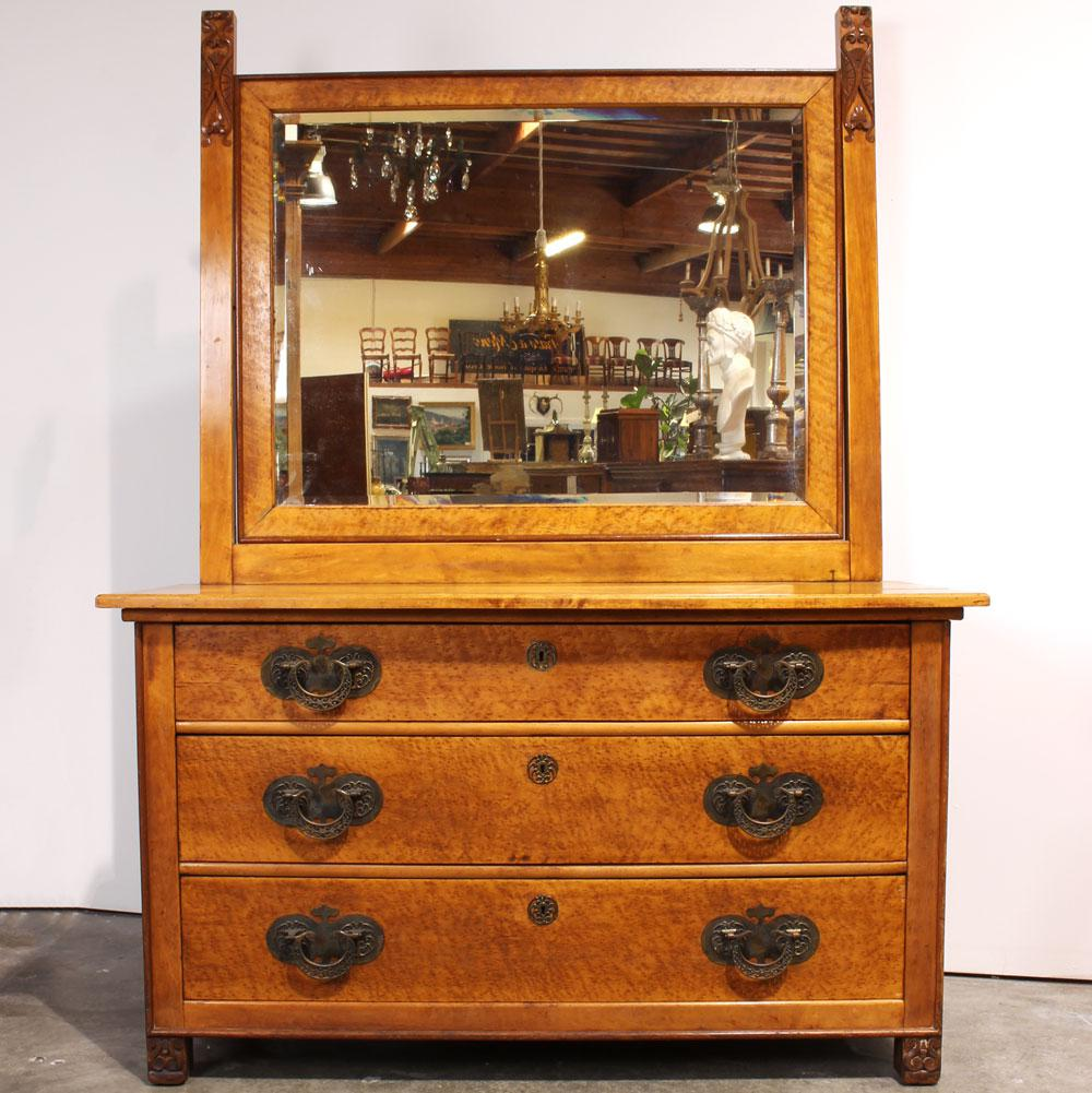 Antique Birdseye Maple Chiffonier Chest With Mirror   Image 2 Of 11