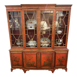 Mid Century George III Style Red Chinoiserie Breakfront For Sale