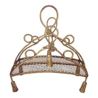 Hollywood Regency Gold Rope & Tassel Magazine Rack
